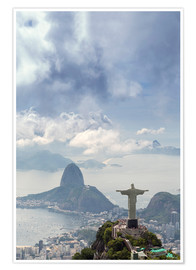 Poster  Rio de Janeiro landscape showing Corcovado, the Christ and the Sugar Loaf, UNESCO World Heritage Sit - Alex Robinson
