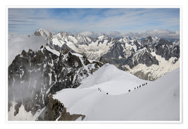 Poster  Mountaineers and climbers, Mont Blanc Massif, Aiguille du Midi, Chamonix, Haute Savoie, French Alps, - Peter Richardson