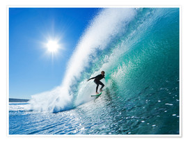 Poster  Surfer sur la vague bleue