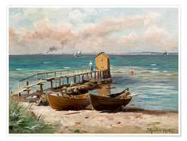 Poster  Bathing huts on the beach - Peder Mork Mönsted