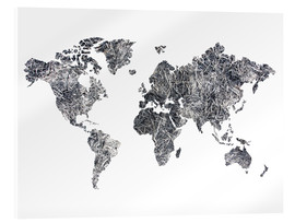 Verre acrylique  World Map - Dried