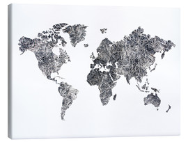 Toile  World Map - Dried
