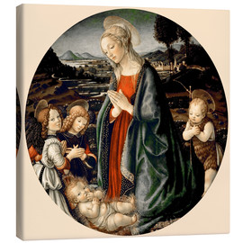 Tableau sur toile  The Virgin Adoring the Christ Child with St. John the Baptist and Two Angels - Sandro Botticelli