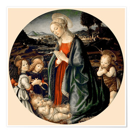Poster The Virgin Adoring the Christ Child with St. John the Baptist and Two Angels