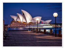 Poster  A boat passes by the Sydney Opera House, UNESCO World Heritage Site, during blue hour, Sydney, New S - Jim Nix