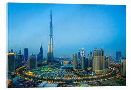 Verre acrylique  Burj Khalifa and Downtown Dubai at dusk, Dubai, United Arab Emirates, Middle East - Fraser Hall