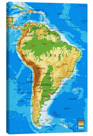 Toile  South America - Topographic Map