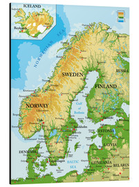 Alu-Dibond  Scandinavia - Topographic Map