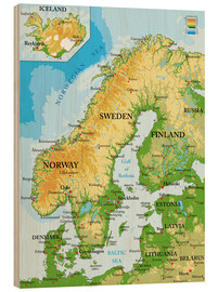 Bois  Carte topographique de la Scandinavie