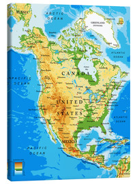 Tableau sur toile  North America - Topographic map