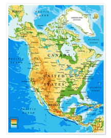 Poster  North America - Topographic map