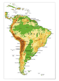 Poster  South America - Topographic Map