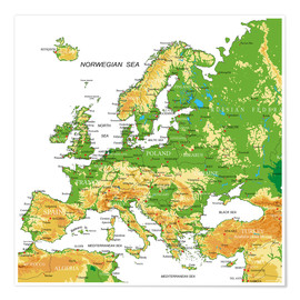 Poster  Europe - Topographic Map