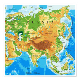 Poster  Asien - Topographic Map
