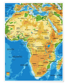 Poster Africa - Topographic Map