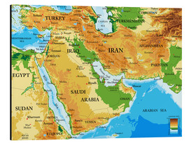 Alu-Dibond  Middle East - Topographic Map