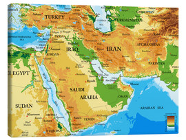 Toile  Middle East - Topographic Map