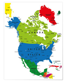 Poster North America - Political Map