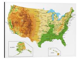 Alu-Dibond  USA - Topographic Map