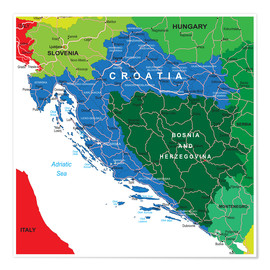 Poster  Croatia - Political Map