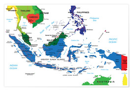 Poster Indonesia - Political map, before 2002