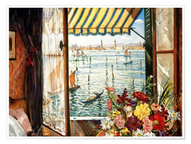 Poster  Looking out a window in Venice - Christopher Nevinson