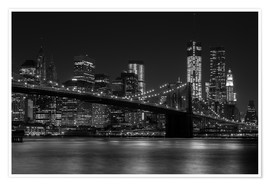 Poster  Brooklyn Bridge at Night - Thomas Klinder