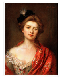 Poster Woman in a red embroidered shawl