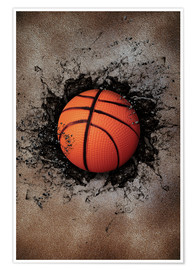 Poster  Stone wall and basketball