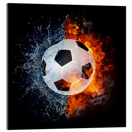 Verre acrylique  Football in the battle of the elements