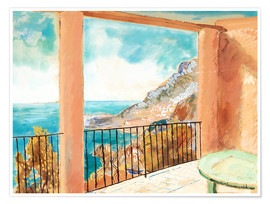 Poster  View from the terrace, Mediterranean - Isaac Grünewald