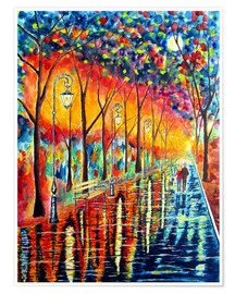 siegfried2838 - Walk night rain landscape painting