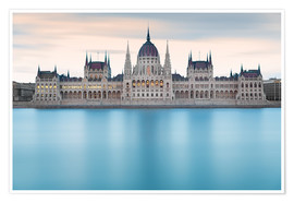 Poster  Hungarian Parliament with Danube, Budapest - Frank Fischbach
