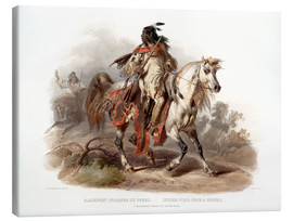 Tableau sur toile  A Blackfoot indian on horseback - Karl Bodmer