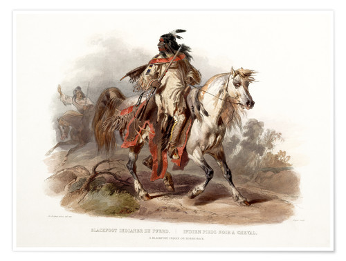 Poster A Blackfoot indian on horseback