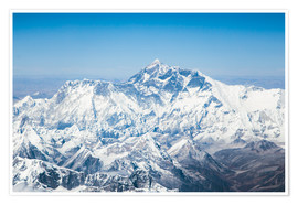 Poster Aerial view of Mount Everest in the Himalaya