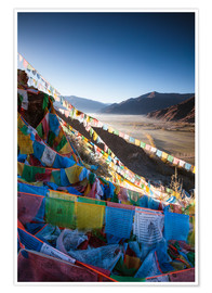 Poster  Valley at sunrise with prayer flags, Tibet - Matteo Colombo