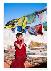 Poster  Young buddhist monk praying, Nepal, Asia - Matteo Colombo