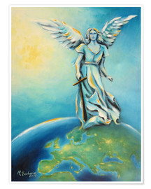 Poster  Archangel Michael - Hand painted Angel Art - Marita Zacharias