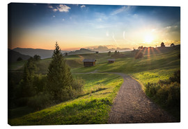 Tableau sur toile  Seiser Alm in the morning, South Tyrol - Frank Fischbach