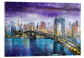 Tableau en verre acrylique  Manhattan Bridge - Johann Pickl