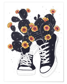 Poster  Sneakers with cactus - Valeriya Korenkova