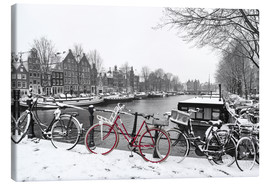 Tableau sur toile  Red bicycle in the snow - George Pachantouris