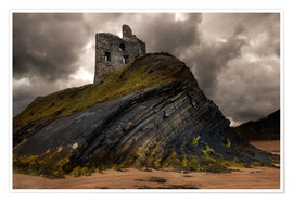 Poster Ruined castle in Ballybunion, Ireland