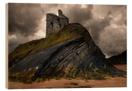 Tableau en bois  Ruined castle in Ballybunion, Ireland - Jaroslaw Blaminsky
