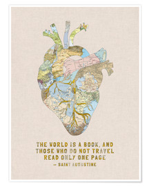 Poster  A Travelers Heart + Quote - Bianca Green