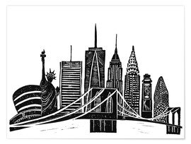 Poster  LINOCUT NEW YORK - Bianca Green
