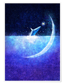 Poster  Blue whale and crescent - Hajin Bae