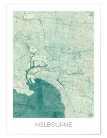 Poster  Melbourne Map Blue - Hubert Roguski
