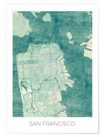 Poster  San Francisco Map Blue - Hubert Roguski
